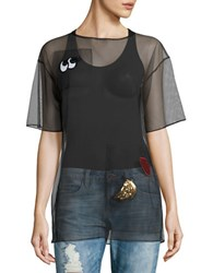 Necessary Objects Patch Accented Mesh Tee Black