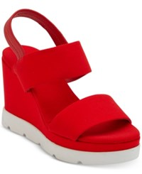 caaacd6193b Dkny Cati Slingback Wedge Sandals Created For Macy s Red