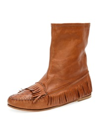 Tomas Maier Fringe Moccasin Leather Bootie Cuir
