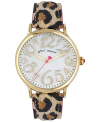 Betsey Johnson Women's Leopard Print Leather Strap Watch 42Mm Bj00496 02