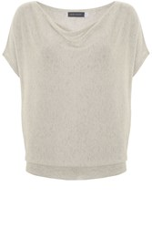 Mint Velvet Flax Marl Short Sleeve Batwing Neutral