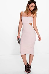Boohoo Cut Out Side Square Neck Midi Dress Stone