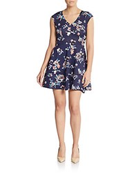 Saks Fifth Avenue Red Floral Print Cap Sleeve Fit And Flare Dress Blue Multi