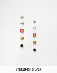 Asos Sterling Silver Pack Of 5 Mixed Stone And Ball Stud Earrings Multi