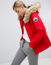 Boohoo Luxe Faux Fur Sporty Parka In Red Red