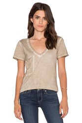 Bobi Cold Water Vintage Wash V Neck Pocket Tee Brown