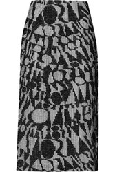 Missoni Crochet Knit Cotton Blend Midi Skirt Black