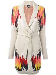 Just Cavalli Geometric Intarsia Cardi Coat Nude Neutrals