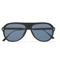 Tom Ford Nicholai Aviator Style Acetate Polarised Sunglasses Black