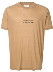 Song For The Mute Slogan Print T Shirt Brown