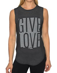 Betsey Johnson Give Love Stripe High Low Muscle Tank Black