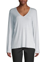 Saks Fifth Avenue Black V Neck Long Sleeve Sweater White