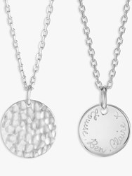 Merci Maman Personalised Small Hammered Pendant Necklace Silver