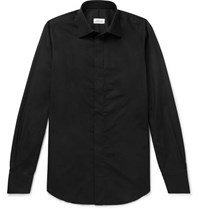 Brioni Slim Fit Cotton Twill Shirt Black
