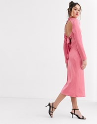C Meo Collective Sqaure Neck Satin Midi Dress In Pink