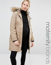 Mama Licious Mamalicious Faux Fur Trimmed Hooded Parka Coat Beige
