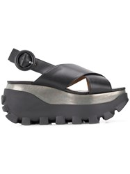 Marni Crossover Wedge Sandals Black