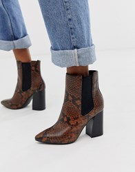 Call It Spring By Aldo Highrise Heeled Ankle Boots In Snake Print Orange