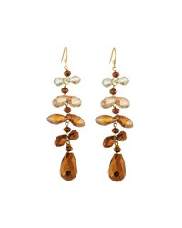 Nakamol Cascading Crystal Dangle Earrings Brown