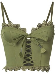 Fenty X Puma Ruffled Lace Up Bustier Women Nylon Spandex Elastane Viscose M Green