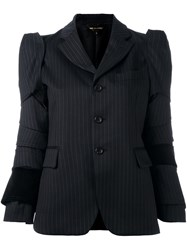 Comme Des Garcons Panelled Pinstriped Blazer Black