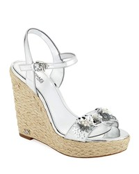 Michael Michael Kors Jill Metallic Leather Espadrille Wedge Sandal With Sequined Flower Silver