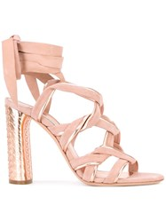 Casadei Strappy Sandals Women Chamois Leather Leather Kid Leather 35 Pink Purple