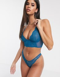 Gossard Lace Thong In Teal Blue