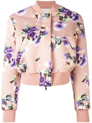 Msgm Floral Print Bomber Jacket Women Polyester 42 Pink Purple