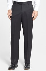 Men's Big And Tall Berle Flat Front Wool Gabardine Trousers Black