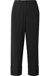 Michael Kors Collection Cropped Wool Straight Leg Pants Black