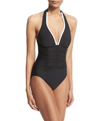 Magicsuit Kara Contrast Trim Halter One Piece Swimsuit Black