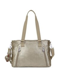 Kipling Metallic Roomy Satchel Pewter