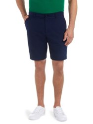 Lacoste Twill Cotton Check Shorts Navy Blue