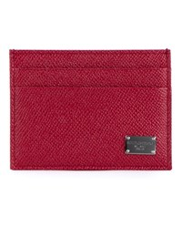 Dolce And Gabbana Grained Leather Cardholder Red Silver