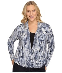 Tart Plus Size Sarah Top Neutral Croco Reflections Women's Clothing Blue