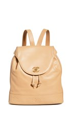 Wgaca What Goes Around Comes Around Chanel Beige Cc Large Backpack