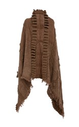 Tuinch Cable Knit Wrap Brown