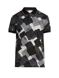 Bottega Veneta Abstract Print Cotton Polo Shirt Grey Multi
