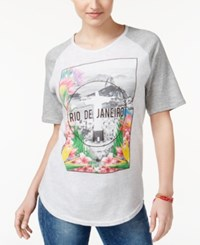 Ntd 2 Kuhl Juniors' Rio De Janeiro Graphic Baseball T Shirt Light Grey Mix Grey Mix