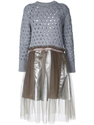Kolor Knitted Flared Dress Grey