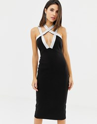Lavish Alice Strappy Sequin Iridescent Midi Dress In Black