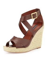 Olympia Leather Espadrille Braided Wedge Sandal Dark Brown Charles David