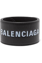 Balenciaga Cycle Printed Textured Leather Bracelet Black