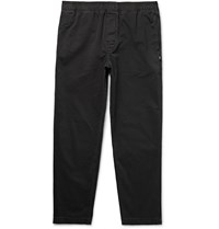 Stussy Tapered Overdyed Cotton Twill Trousers Black