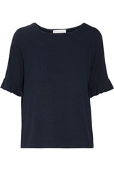Kain Label Dusty Ruffled Stretch Jersey Top Navy