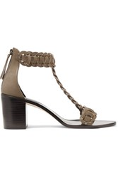Zimmermann Link Weave T Bar Leather Sandals Army Green