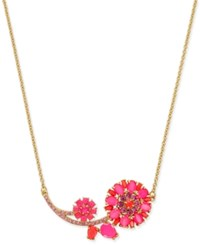 Kate Spade New York Gold Tone Pink Stone Flower Collar Necklace