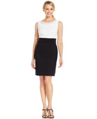 Connected Pearl Embellished Tiered Sheath Dress Ivory Black