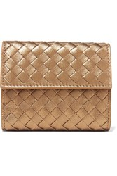 Bottega Veneta Intrecciato Leather Wallet Gold